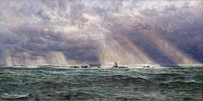 A North-west Gale Off The Longships Lighthouse Poster by John Brett