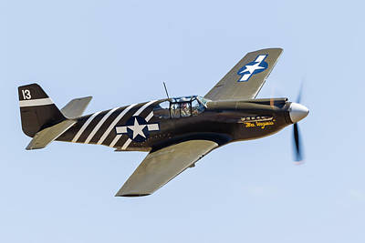 A P-51a Mustang Flying Over Chino Poster