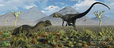 A Pair Of Dilophosaurus Dinosaurs Poster