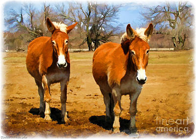A Pair Of Mules  Digital Paint Poster