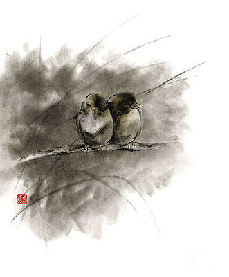 A Pair Of Sparrows Two Birds Brown Bird Original Ink Painting Artwork Poster