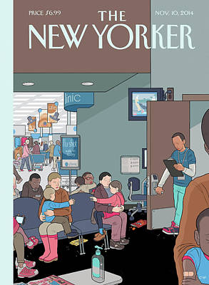 A Physician Distributes Flu Shots Poster by Chris Ware