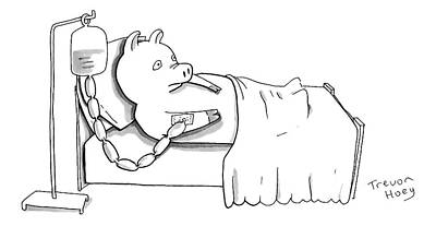A Pig Is Hooked Up To An Iv Shaped Like Sausages Poster by Trevor Hoey