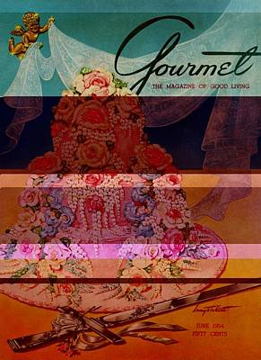 A Pink Wedding Cake And Ceremonial Silver Cutting Poster by Henry Stahlhut