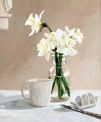 Poster featuring the painting A Pint Of Daffodils by Sandra Chase