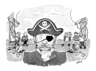 A Pirate Caption Being Mocked Behind His Back Poster by Tom Toro