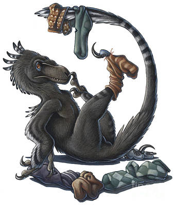 A Playful Deinonychus Dinosaur Playing Poster by H. Kyoht Luterman