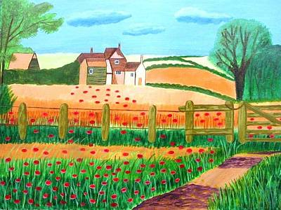 Poster featuring the painting A Poppy Field by Magdalena Frohnsdorff