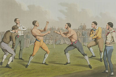 A Prize Fight Aquatinted By I Clark Poster