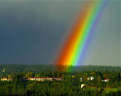 Poster featuring the photograph A Rainbow Blessing Spokane by Ben Upham III
