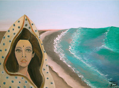 Poster featuring the painting A Rani's Paradise by Saad Hasnain