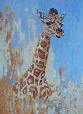 Poster featuring the painting A Rare Giraffe by Margaret Saheed
