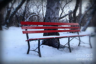A Red Bench Waiting For Spring Poster