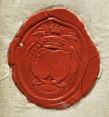 A Red Seal Showing A Coat Of Arms Poster