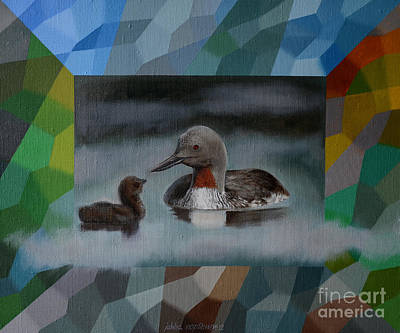 A Red-throated Diver And The Chick Poster by Jukka Nopsanen