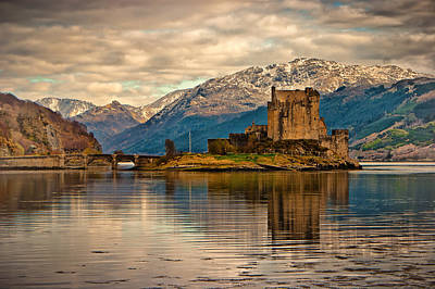 A Reflection At Eilean Donan Castle Poster by Chris Boulton