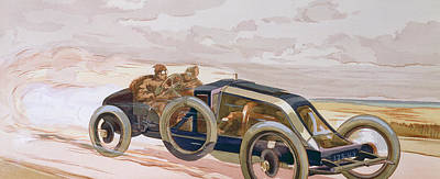 A Renault Racing Car Poster by Ernest Montaut
