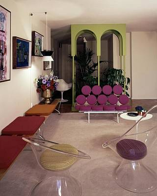 A Retro Living Room Poster by Tom Leonard