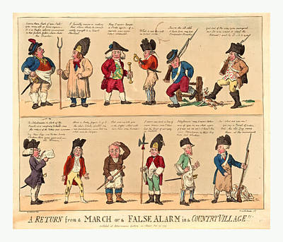 A Return From A March Or A False Alarm In A Country Village Poster by English School