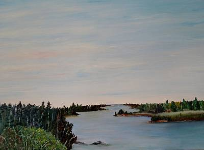 Poster featuring the painting A River Shoreline by Marilyn  McNish