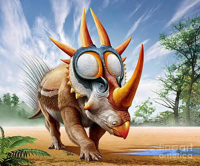 A Rubeosaurus Roams A Prehistoric Poster by Mohamad Haghani