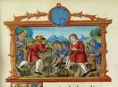 A Rural Scene People Digging And Planting Poster by British Library