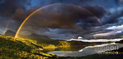 A Scottish Highland Rainbow Kylesku Poster by John Farnan