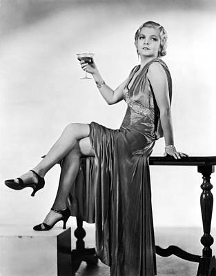 A Seductive Woman Toasts With Her Glass Poster