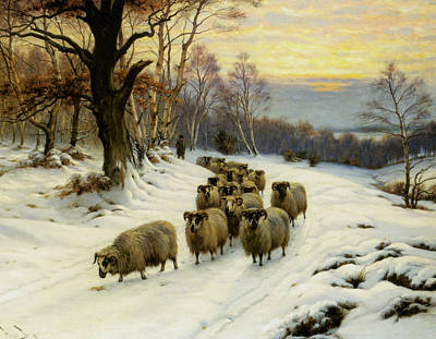 A Shepherd And His Flock Poster by Wright Barker