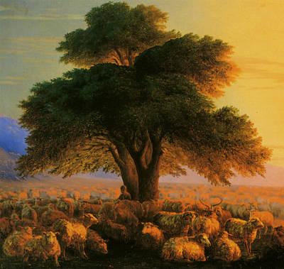 A Shepherd With His Flock In The Evening Detail Poster