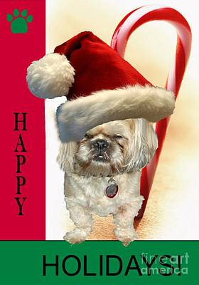 Poster featuring the digital art A Shih Tzu's Happy Holidays Greeting by Polly Peacock