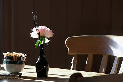 A Single Rose Sits In A Small Vase Poster