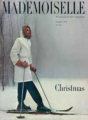 A Skier In A White Stag Parker Poster by George Barkentin