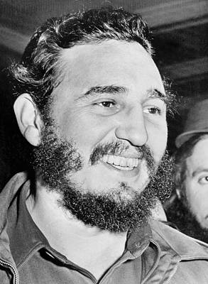 A Smiling Fidel Castro Poster by Underwood Archives