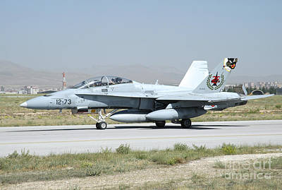 A Spanish Air Force Ef-18m Taxiing Poster by Riccardo Niccoli