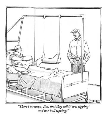 A Standing Man Talks To A Man Lying In A Hospital Poster