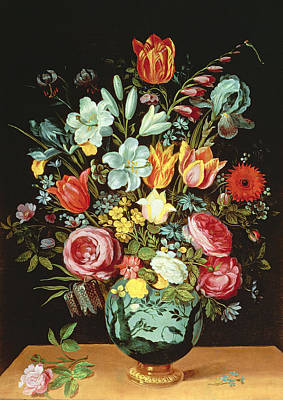 A Still Life Of Flowers In A Porcelain Vase Resting On A Ledge Poster