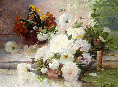 A Still Life With Autumn Flowers Poster by Eugene Henri Cauchois