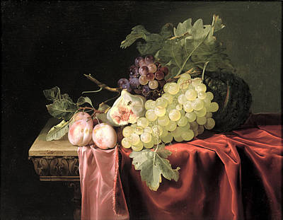 A Still Life With Grapes, Plums, Figs And A Melon On A Partly Draped Stone Ledge, 1653 Oil On Canvas Poster by Willem van Aelst