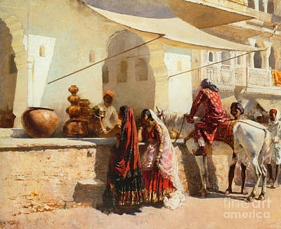 A Street Market Scene Poster by Celestial Images