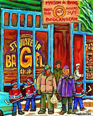 A Stroll After The Hockey Game St Viateur Bagel Montreal Winter Street Carole Spandau Poster by Carole Spandau