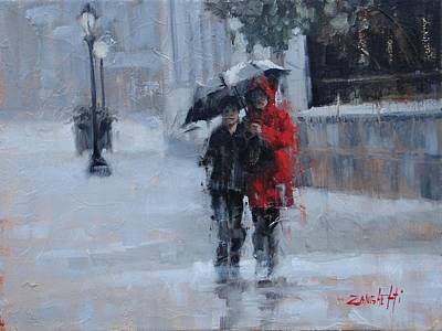 A Stroll In The Rain Poster by Laura Lee Zanghetti
