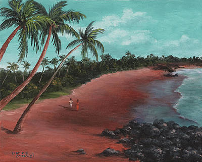 A Stroll On A Tropical Beach Poster by Darice Machel McGuire