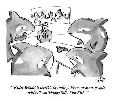 A Suited Man Speaks To A Group Of Killer Whales Poster by Farley Katz