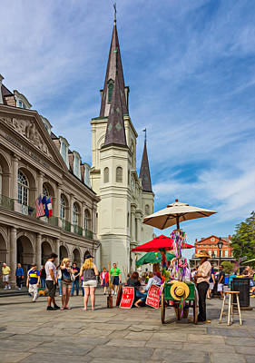 A Sunny Afternoon In Jackson Square Oil Poster by Steve Harrington
