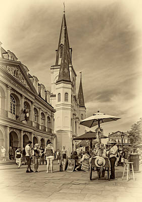 A Sunny Afternoon In Jackson Square Sepia Poster by Steve Harrington
