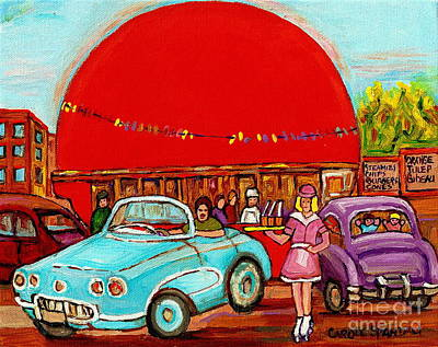 A Sunny Day At The Big Oj- Paintings Of Orange Julep-server On Roller Blades-carole Spandau Poster by Carole Spandau