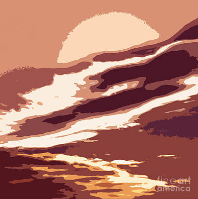 A Sunset In The Valley. Digital Drawing Poster