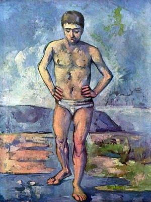 A Swimmer By Cezanne Poster