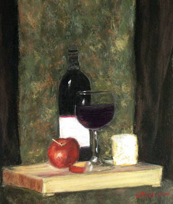Poster featuring the painting A Taste Of Merlot by Cindy Plutnicki